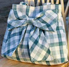Teal Plaid Bow Bag Purse w/ Double Handles by peacelovenpolkadots, $40.00