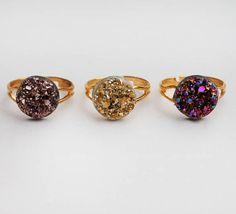 Golden Druzy Rings