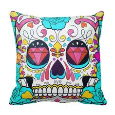 Hipster Sugar Skull and Teal Blue Floral Roses Throw Pillow