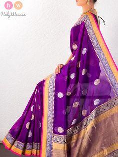 Purple Handwoven Katan Georgette Kadhuan Brocade Saree - HolyWeaves - 1