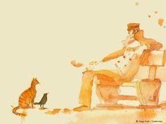 Corto con gato acuarela