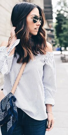 Add a flirty touch to your summer style with our off the shoulder striped top. Pair this shirt with your favorite sunglasses for a perfect summer look | Banana Republic