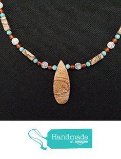 Southwestern Desert Jasper Teardrop Pendant with Turquoise and Carnelian from Red Creek Spirit Jewelry http://www.amazon.com/dp/B015P8ROUU/ref=hnd_sw_r_pi_dp_tpBgwb161TQVW #handmadeatamazon