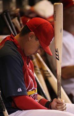 Allen Craig prays to the baseball gods.