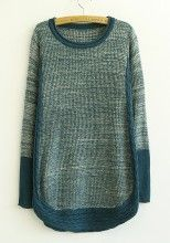 Blue Patchwork Irregular Round Neck Cotton Blend Cardigans