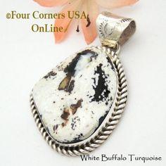 Four Corners USA Online - White Buffalo Turquoise Pendant Navajo Artisan Harry Spencer NAP-1632, $187.00 (http://stores.fourcornersusaonline.com/white-buffalo-turquoise-pendant-navajo-artisan-harry-spencer-nap-1632/)