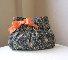 Pleated Clutch purse Blue Paisley  Cotton by whitewolfsclouds, $27.00