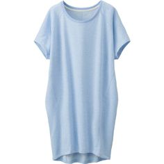 UNIQLO Women Sweat Lounge Dress (Short Sleeve) (2170 RSD) ❤ liked on Polyvore featuring dresses, tops, light blue, blue evening dress, light blue evening dress, blue cotton dress, evening dresses and uniqlo
