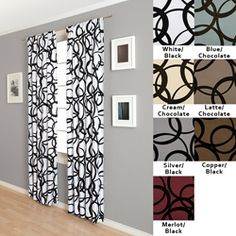 Nirvano 84 Inch Rod Pocket Curtain Panel White Black Size 55 X Polyester Graphic Print 96 CurtainsCurtains For BedroomDining Room