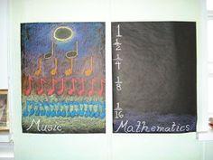 Musuc + Play + Art + Movement = Math, Science, Geography, Reading and Fifth Grade, Third Grade, Class 4 Maths, Waldorf Math, Music Math, Chalkboard Drawings, Fourth Grade Math, Geometric Drawing, Waldorf Education