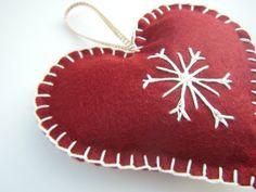 Felt Christmas Decoration Heart Decoration Felt by QuiltyPigs