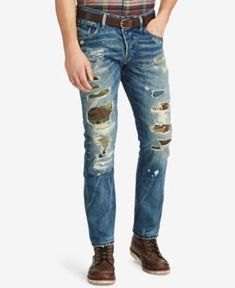 Polo Ralph Lauren Men's Varick Slim Straight Fit Ripped Jeans In Lyndon Repaired Ripped Jeans Men, Polo Jeans, Slim Jeans, Cut Jeans, Jeans Style, Polo Ralph Lauren, Vintage Denim, Levis, Skinny