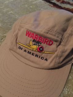 Vtg Warbird Rides Of America Cap Hat Flat Bill USA Airplane United States Plane