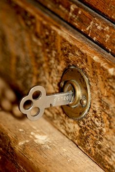 old desk lock and key