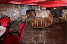This is my room  Madonna Inn - Old World suite!! Rock shower and waterfall!!