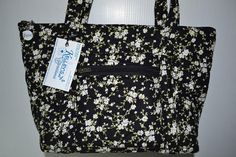 Quilted Fabric Handbag Purse Black With Small White Flowers