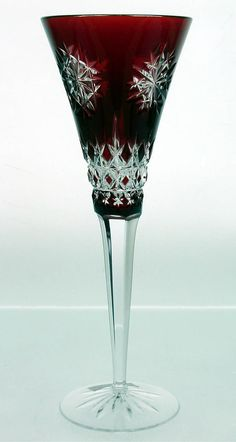 Ajka European Style Cranberry Cased Cut To Clear Crystal Wine Goblet Set Of 2 High Safety Pottery & Glass