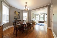 This vintage 3-bedroom apartment in Irving Park sits on a tree-lined street, just 2 blocks from the Blue Line and Bow Truss Coffee. #diningroom #irvingpark #apartment #chicago #vintage