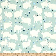 Birch Organic Homestead Little Lamb Mint from @fabricdotcom  Designed by Emily Isabelle for Birch Organic Fabrics, this GOTS certified organic cotton print fabric is perfect for quilting, apparel, and home decor accents. Colors include cream, mint green and royal blue.