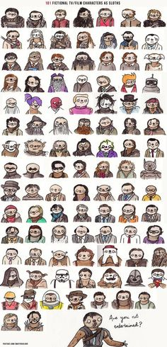 101 Film and TV Characters Drawn as Sloths. Because.... Sloths. (I don't see doctor who :( But I see Sherlock so I'm still happy)