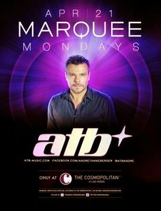 ATB at Marquee Las Vegas Nightclub Monday April 21st. 702.741.CITY(2489) CITY VIP CONCIERGE for Tables, Bottles, Tickets, VIP Services and the Best of Any & Everything Fabulous in Las Vegas!!! #MarqueeNightclubLasVegas #VegasNightclubs #CityVIPConcierge *CALL OR CLICK TO BOOK* http://cityvipconcierge.wantickets.com/Events/151550/ATB-at-Marquee-Nightclub/
