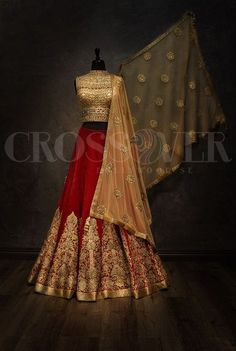 Red and gold bridal lehenga More