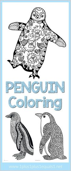 Penguin Doodle Coloring Pages for Adults and Kids ~ fun for a winter theme!