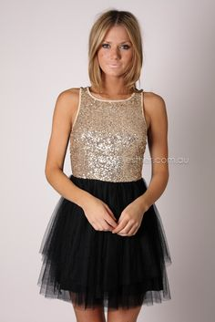 DEVINE SEQUIN BODICE COCKTAIL - GOLD/BLACK