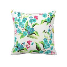Tropical Dreams Flowers Throw Pillow by GirlyTemplate