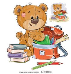 Vector illustration of a brown teddy bear holds books and pencils in a school satchel. Print, template, design element
