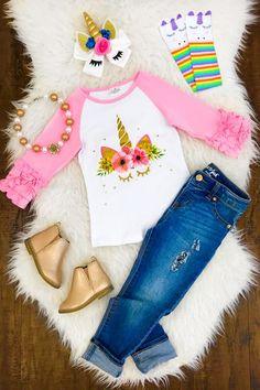 Precious Pink Unicorn Ruffle Sleeve Shirt