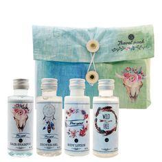 Travel pack Boho (Dead Sea): Shower Gel 50 ml, Hair Shampoo 50 ml, Body Lotion 50ml, Free Bottle 50 ml. Best Gift Pack for her, girls, ladies, fashion lovers..