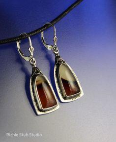 Bezel Set Montana Agate Earrings Sterling Silver Handcrafted Jewelry by RichieStubStudio on Etsy