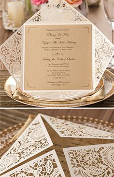 metallic elegant laser cut wedding invitations
