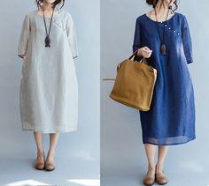 vrouwen linnen jurk/vrouwen silk jurk/linnen jurk door babyangella