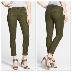 "♣️ Joe's Jeans ""The Oblique"" zipper skinny jeans ""The Oblique"" zipper detail skinny jeans. Waist 28"" inseam 29"".  Gleaming contrast zippers give coveted edge to olive-hued skinny jeans with ankle-length hems and a military-inspired aesthetic. 10"" leg opening; 9"" front rise Side zip pockets; back pockets. 55% ProModal®, 43% cotton, 2% Lycra® spandex. Snug fit; will stretch with wear. Only flaw is one zipper handle is broken off doesn't effect wear. 🚫Trades🚫Modeling🚫 ✅Smoke free home✅…"