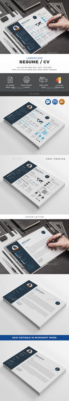 Landscape Resume Template PSD, Vector EPS, AI, MS Word