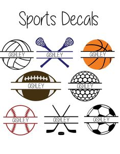 Vinyl Sports Monogram Decal Baseball Soccer Football Volleyball Golf Basketball Lacrosse Hockey by AjAllenDesigns on Etsy