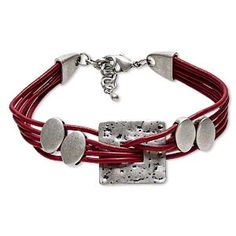 Red Leather and Pewter Bracelet