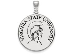 LogoArt Sterling Silver Virginia State University Xlarge Enamel Disc Pendant Necklace - Chain Included