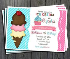 Ice Cream Birthday Invitation - FREE Thank You Card included $15 #icecream #party