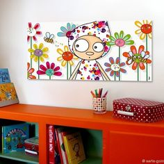 "Board - Canvas ""Perlinpinpin"" 38 x 78 cm Painting For Kids, Painting & Drawing, Art For Kids, Kids Canvas, Canvas Art, Decoration, Art Decor, Painted Wooden Boxes, Kindergarten Design"