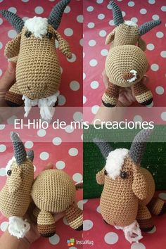 Silvia Reimundez 4 Crochet Animals, Crochet Hats, Farm Animals, Crochet Bag Patterns, Amigurumi, Crocheted Animals, Knitting Hats