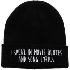 I Speak In Movie Quotes And Song Lyrics Watchman Beanie | Hot Topic ($20) ❤ liked on Polyvore featuring accessories, hats, beanies, knit beanie caps, beanie hats, knit cap beanie, beanie cap hat and knit beanie hats