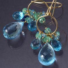 ON SALE  18K Gold Swiss London Blue Topaz Emerald by SkyDreams