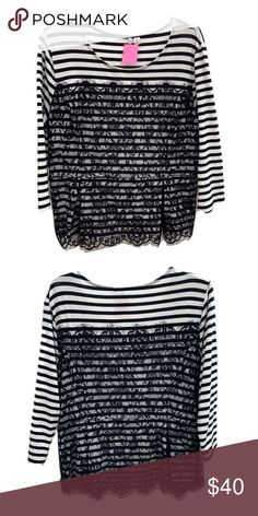 9a750762fe56 Elle Striped Lace Blouse Elle black and white striped w/lace overlay  blouse, Size