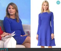 On Today, Today Show, Jenna Bush Hager, Lela Rose, Laser Cutting, Knit Dress, Casual Wear, Royal Blue, Cold Shoulder Dress