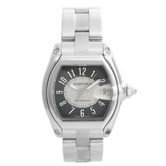 Stainless steel case x Gray dial with Arabic numerals; date at 3 o'clock. Stainless steel Cartier Roadster bracelet with deployant clasp. Pre-owned with Cartier box and papers. Fine Watches, Rolex Watches, Watches For Men, Cartier Watches, Stainless Steel Watch, Stainless Steel Bracelet, Omega Constellation Automatic, Cartier Ballon Bleu, Cartier Roadster