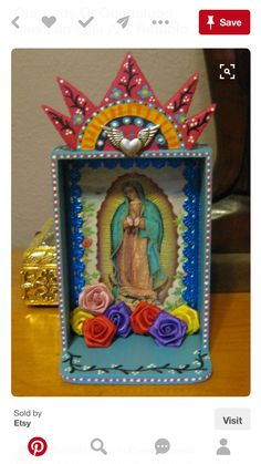 Your place to buy and sell all things handmade Mexico Art, Tin Art, Mexican Designs, Mexican Folk Art, Blessed Mother, Sacred Art, Religious Art, Our Lady, Whimsical Art