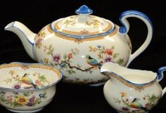 SALE Aynsley Painted Art Deco BIRDS TREES Small Tea pot creamer sugar   $698 USD